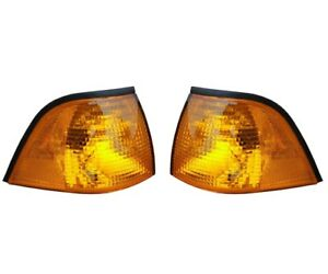 For BMW E36 3-Series Genuine Pair Set of Front Turn Signal Light w/ Yellow Lens