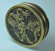 ANTIQUE CHINA QING DYNASTY CHINESE DRAGON GILD BRONZE BOX ETUI CASE INCENSE 19TH