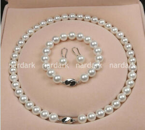 AAA 8mm White South Sea Shell Pearl Round Necklace Bracelet Earrings Set 18''