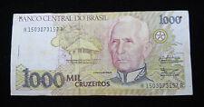 BANCO CENTRAL DO BRASIL BANKNOTE 1000 CRUZEIROS PAPER MONEY BRAZIL BANK
