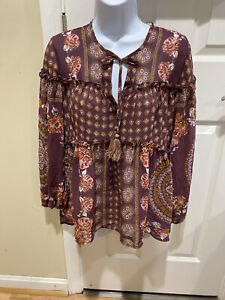 Knox Rose Boho Floral Round Neck Tunic Long Sleeves with Tassel Ties NWOT