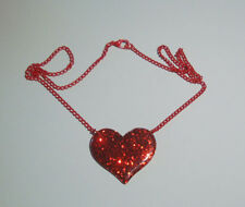 RED GLITTER HEART PENDANT NECKLACE RED CHAIN ROCKABILLY