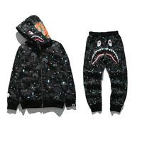 Men's Full Zipper Hoodie Sweats Coat Ape Bape Shark Jaw Trouser Pant Jacket Set