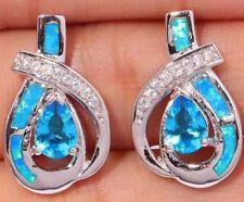 Stunning Blue / Green Fire Lab Opal & Gem Set Silver Stud Pieced Earrings