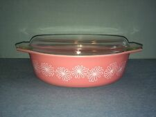 PYREX PINK DAISY 2-1/2 QT.  #045 OVAL CASSEROLE WITH LID NICE VINTAGE RARE