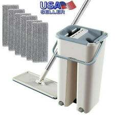Flat Squeeze Mop And Bucket Hand Free Wringing Floor Cleaning Microfiber Mops US