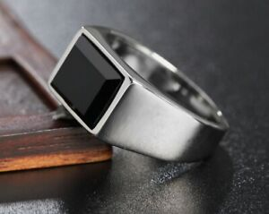Men Fashion Black Obsidian Stone Silver Titanium Stainless Steel Ring 8-12