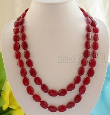 "Handmade 13x18mm Natural Red Jade Gemstone Oval Beads Necklace 36""AAA"
