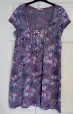 White Stuff Ladies Purple Floral Cotton Tunic Short Sleeve Dress UK Size 10