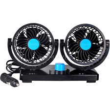12V Car Fan 360 Degree Rotation Adjustable Dual Head Car Auto Cooling Air Fan