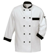 Phoenix Chef's Coat White, Black Trim, Double Breasted, Size Small, Polyester