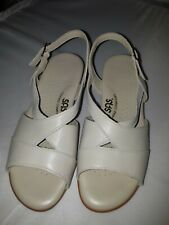 SAS Comfort Shoes Sz 5M CARESS Bone Leather Ankle Strap SANDAL Beige Open Toe