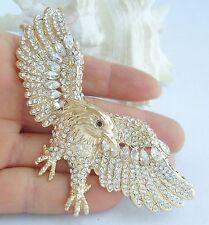 "Unique 3.15"" Bird Eagle Animal Brooch Pin Clear Austrian Crystal Pendant 04717C9"