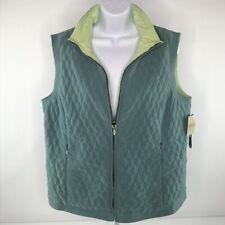 Fieldgear Womens Puff Vest Reversible Zip Front Late Fall Teal Green Size L NWT