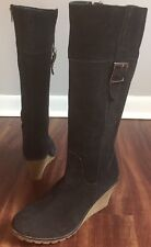 Sketchers Black Suede Wedge Boots Women's Size 10