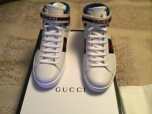 GUCCI NEW W/BOX STRIPE ACE HIGH TOP SNEAKERS S G11 US 12 WHITE