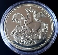 More details for gb edward viii 1936 silver proof pattern george & dragon plain edge crown