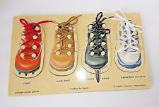 Melissa and Doug Shoe Lacing Lace learning Peg Puzzle Ages 4 and Up