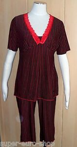 Pyjama Schlafanzug mit Capri-Hose schwarz-rot  Marie Amiere  Doppelgröße 36/38