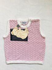 Cashmirino Sweater Baby Girl 100% Knitted Cotton Slipover Vest Tank Top Pink 18M