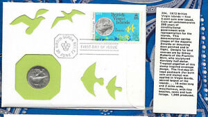 British Virgin Islands 1973 5 Cents UNC & FDI Stamped Envelope w/info card