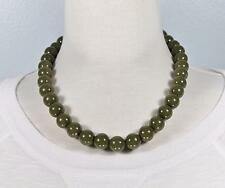 """Olive Green chunky beaded necklace 18"""" long bead big beads 13mm size"""
