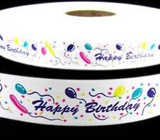 ".25 per yd - 4 Yds Happy Birthday Balloons White Acetate Ribbon 1 1/4""W"