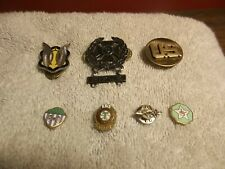 Lot Of 7 Military and Fraternal Order Pins Rifle, Airmen, Shriner, Railroad Etc.