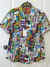NWT Robert Graham Shirt Sz 2XL- KIRKWAY - Bold Geometric RG Cotton Shirt!!