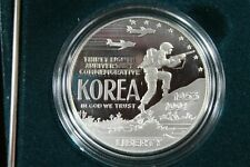 1991 KOREAN WAR MEMORIAL PROOF SILVER DOLLAR WITH MINT PACKAGE OGP w COA