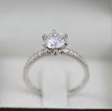 ENGAGEMENT 1.20 CT G SI1 ROUND DIAMOND 18 K WHITE GOLD ACCENTED SOLITAIRE RING