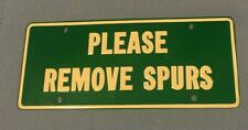 "RARE '50's General Mills Novelty License Plate ""PLEASE REMOVE SPURS"""