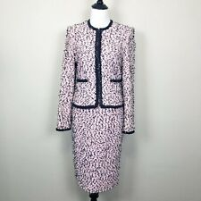 St. John Couture Tweed Skirt Suit Size 6 Pink Black White Jacket And Skirt