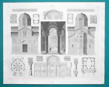 ARCHITECTURE St. Vitale Ravenna Athens Constantinople - 1844 Superb Print