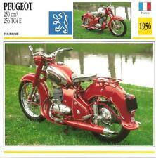 Carte Fiche Moto Peugeot 250 cm3 256 TC4 E  France 1956