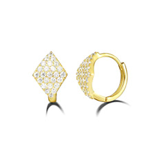 925 Sterling Silver Cz Cubic Zirconia Hoop Earrings For Women Yellow Gold Plated