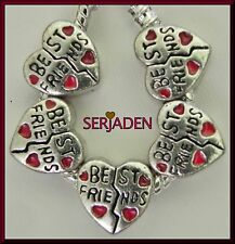 5 Best Friends Heart Bead Spacer fits European Charm Bracelet Necklace S119
