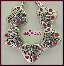 5 Best Friends Heart Bead Spacer fits European Charm Bracelet Necklace S119