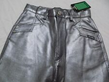 New Vtg Rockies Western Silver Pleather Jeans Pants PVC Faux Leather Jr 11 30X36