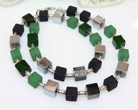 Würfelkette Halskette Perlen Cube Würfel schwarz grün silber mehrfarbig 338h