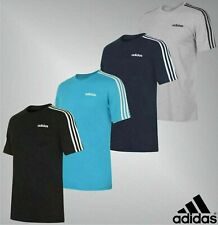 Mens Adidas Crew Short Sleeves Casual Top 3 Stripe T Shirt Sizes from S to XXL