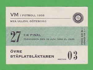 1958 FIFA World Cup ticket #27 1/4 Finals Brazil vs Wales Pelé WC goal #1