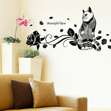 Large Cat Rose Flower Removable Wall Decal Sticker Wall Art Home Decor DIY
