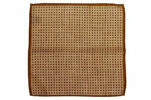 Battisti Pocket Square Rust with orange polkadots on beige, pure wool
