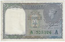 Government of India British 1 One Rupee 1940 Issue Pick #25d Foreign World Note