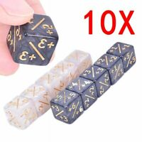 10pcs Six-sided Counters +1/+1 Dice White Black Party Home Kids Toy Dice HC