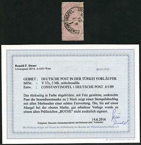 DP Türkei 1889 Innendienst Paar V 37c ° Constantinopel Befund Steuer BPP / 45