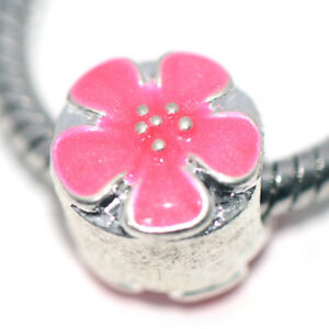 1x Silver Red Flower Bead Charm Spacer Fit Eupropean Chain Bracelet Make Jewelry