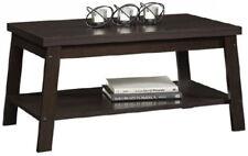 Espresso Logan Living Room Coffee Table Home Rectangular Wooden Shelf Storage