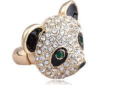 Adjustable Gold Tone Clear Crystal Colored Rhinestones Black Panda Head Ring